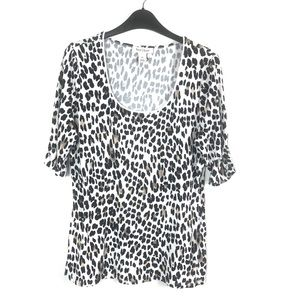 WHBM XL white leopard scoop neck blouse